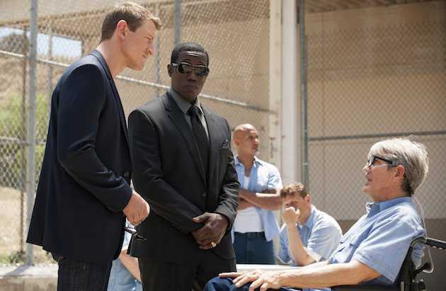 "THE PLAYER -- ""The Big Blind"" Episode 103 -- Pictured: (l-r) Philip Winchester as Alex Kane, Wesley Snipes as Mr. Johnson, Eric Roberts as Pauly Agostino -- (Photo by: Colleen Hayes/NBC)"